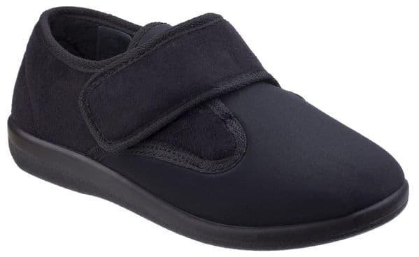 GBS Med Frenchay Slipper Touch Fastening Ladies Slipper Black